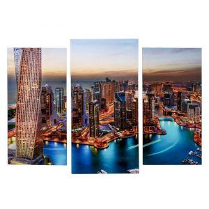 """Модульная картина """"Небоскребы Дубая""""   (2-25х52; 1-30х60) 60х80 см   3981599"""