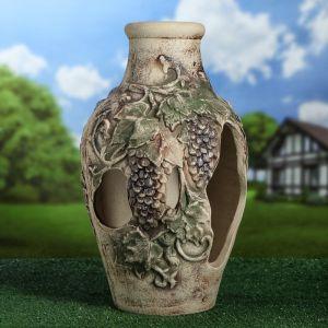 "Садовая фигура ""Виноград"", амфора, серый цвет, 55 см"