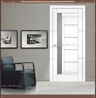 Межкомнатная дверь PREMIER 3 SoftTouch структурный Ясень белый, стекло - Мателюкс :