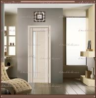 Межкомнатная дверь PREMIER 3 SoftTouch структурный Ясень капучино, стекло - ЛАКОБЕЛЬ Белое :