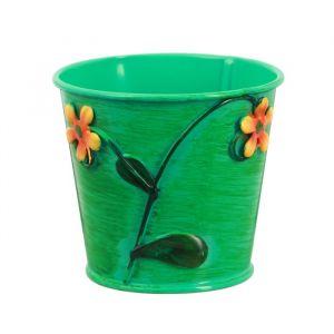Горшок средний «Цветочки», цвет зелёный