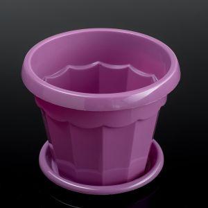 """Горшок для цветов с поддоном 0,7 л """"Эрика"""", цвет фиолетовый"""