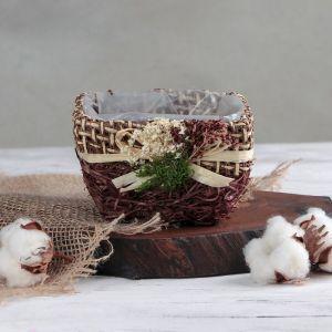 """Кашпо плетеное """"Букет"""" квадрат, 13х12х8 см, цвет коричневый   4585746"""
