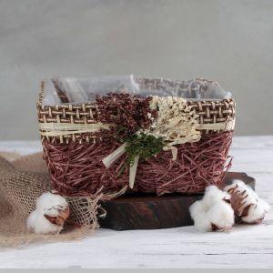 """Кашпо плетеное """"Букет"""" квадрат, 20х20х10 см, цвет коричневый   4585748"""