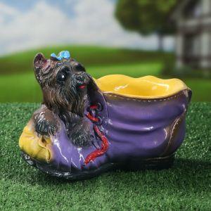 """Кашпо """"Ботинок с собакой'', разноцветный, 0,5 л, микс"""