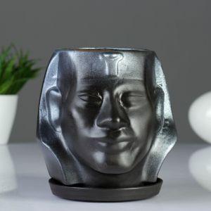 """Фигурное кашпо """"Аминхатеп"""", 17?15 см, черный   3601437"""