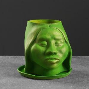 """Фигурное кашпо """"Голова"""" 21см, зеленая 4827220"""