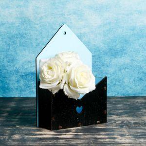 """Кашпо деревянное Конверт Аполло """"Влюблённый"""", чёрный голубой, с блёстками 4416197"""