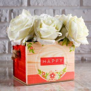 """Кашпо деревянное Элен """"Happy"""", ручка верёвка 4743915"""