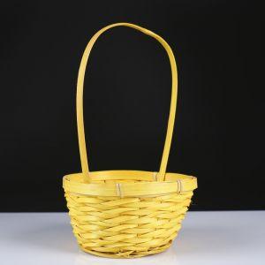 Корзина плетёная, бамбук, жёлтая, (цилиндр)