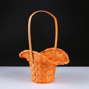Корзина плетёная, бамбук, оранжевая, (шляпка с изгибом)