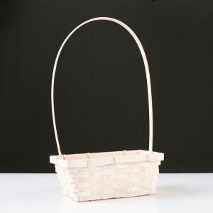 Корзина плетёная, бамбук, белая, прямоугольная, средняя