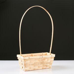 Корзина плетёная, бамбук, натуральный цвет, прямоугольная, средняя