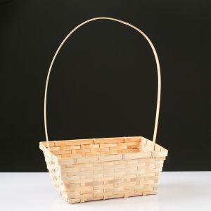 Корзина плетёная, бамбук, натуральный цвет, прямоугольная, большая