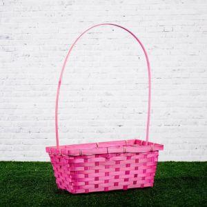 Корзина плетёная, бамбук, розовая, прямоугольная, большая