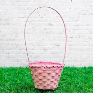 Корзина плетеная бамбук, D13xH9,5/28см, светло-розовая 3823260
