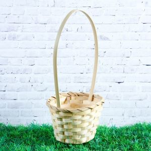Корзина плетёная, бамбук, натуральный цвет, (цилиндр), средняя