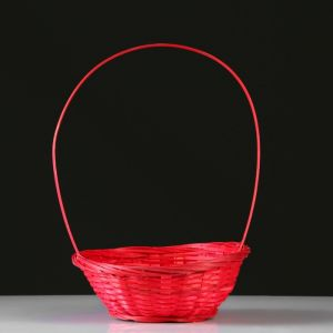 Корзина плетеная, бамбук, D19xH5 см, красный 4821948