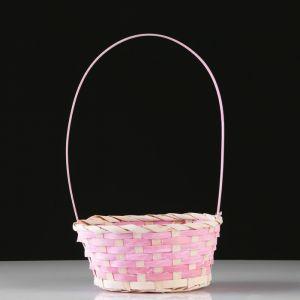Корзина плетеная, бамбук, D20X15 H10 HH33 см, розовый 4821953