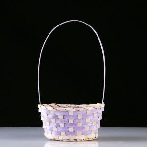 Корзина плетеная, бамбук, D20X15 H10 HH33 см, фиолетовый 4821951