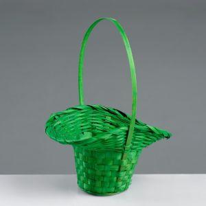 Корзина плетёная, бамбук, зелёная, (шляпка), большая