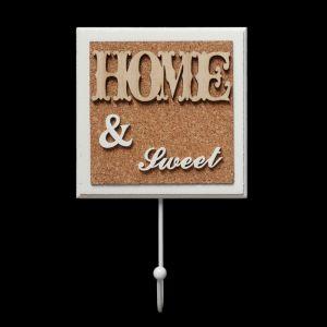 """Крючок декоративный дерево """"HOME&SWEET"""" 21,5х13 см   3556581"""