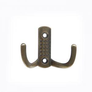 Крючок мебельный KM202GP, двухрожковый, цвет бронза   4645203