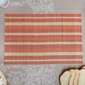 Салфетка плетёная, коричневая с белым, 33?50 см, бамбук   4446195