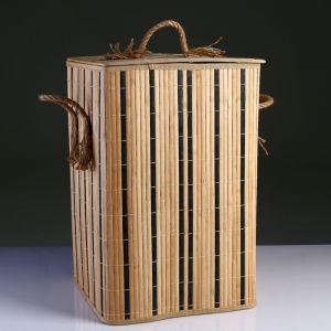 Корзина для белья с крышкой складная с ручками 37х37 см Н 56 см, бамбук,джут 4822645