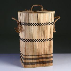 Корзина для белья с крышкой складная с ручками 39х39 см Н 56 см, бамбук,джут 4822639
