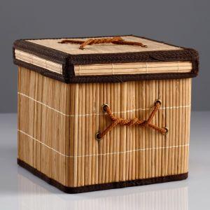 Короб для хранения, с крышкой, складной, 20?20?20 см, бамбук 4427895