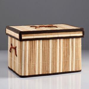 Короб для хранения, с крышкой, складной, 31?21?23 см, бамбук 4427896