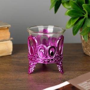 "Подсвечник пластик, стекло на 1 свечу ""Капельки"" розовый 7х6х6 см   4757294"
