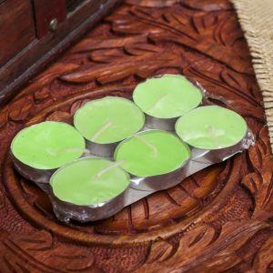"""Набор свечи в гильзе """"Платинум"""" 6 шт зелёный чай и фрукты 11,5х8х1,5 см 2361510"""
