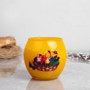 Свеча парафиновая в стекле с пасхальным декором,   3258444