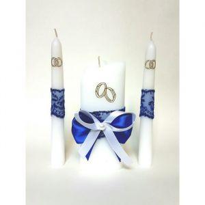 """Набор свечей """"Кружевной"""", синий : Домашний очаг 6.8х15см, Родительские свечи 1.8х17.5см   1624269"""