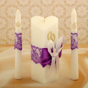 """Набор свечей """"Кружевной"""", фиолетовый : Домашний очаг 15см, Родительские свечи 17.5см 1624271"""