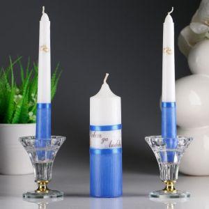 """Набор свечей """"Свадебный"""" синий: Родительские свечи 1,8х17,5;Домашний очаг 4х13,5   2554844"""