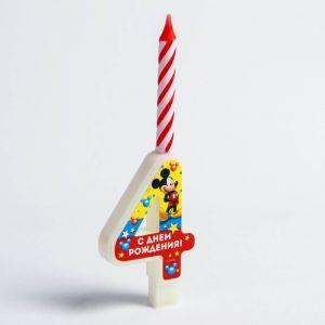 """Свеча в торт цифра Дисней """"4"""", Микки Маус"""