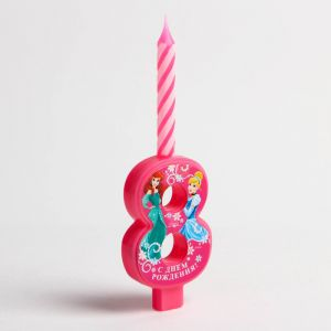 """Свеча в торт цифра Дисней """"8"""", Принцессы"""