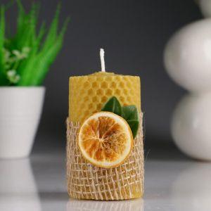 """Свеча из вощины """"Классика"""" с апельсином, 5,3?8 см 4852704"""