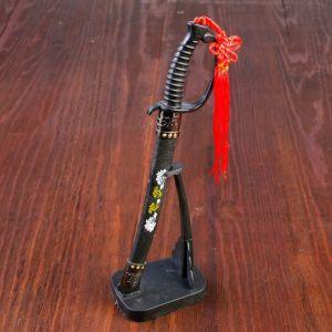 Сувенирное оружие «Катана на подставке», чёрные ножны с бело-золотым узором, 21см 542896