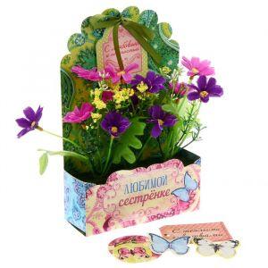 Цветы в картонном кашпо «Любимой сестренке», 12.5 ? 20 см