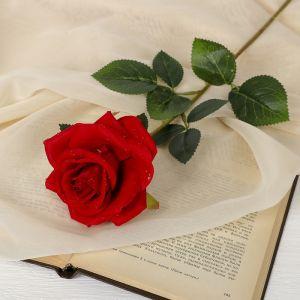 Цветы искусственные «Роза с капельками», 7,5 ? 55 см, бордовая