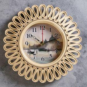 """Часы настенные круглые """"Венеция"""" корпус витой бежевый, 26х26 см 2976065"""