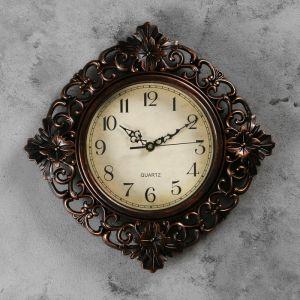 """Часы настенные, серия: Интерьер, """"Жанна"""", коричневые, 35х35 см, плавный ход 3096867"""