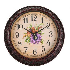 """Часы настенные, серия: Интерьер, """"Изящный букет"""", круглые, бордовые, d=30 см 2334883"""