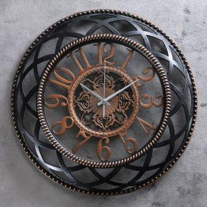 """Часы настенные, серия: Интерьер, """"Макира"""", чёрные с бронзой d=40 см 3620893"""
