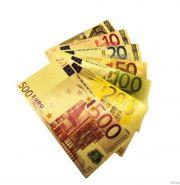 Набор 7 шт Евро банкноты (сувенирные) комплекты 5 10 20 50 100 200 500 EUR золотые банкноты