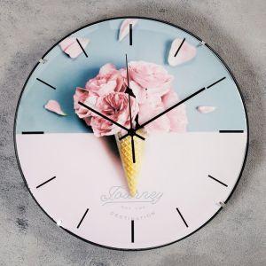 """Часы настенные, серия: Интерьер, """"Розовый рожок"""", d=30 см   4460498"""